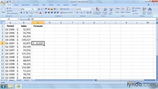 Calculating a seasonal forecast: Excel 2007: Business Statistics