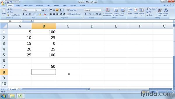 Calculating variance and standard deviation: Excel 2007: Business Statistics