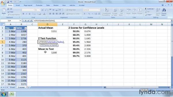 Summarizing data using z-scores: Excel 2007: Business Statistics