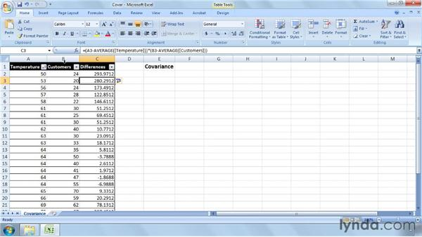 Calculating covariance: Excel 2007: Business Statistics