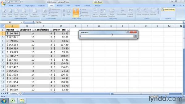 Calculating correlations for more than two data sets: Excel 2007: Business Statistics