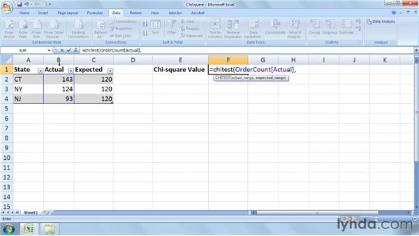 Calculating and interpreting chi-square values: Excel 2007: Business Statistics