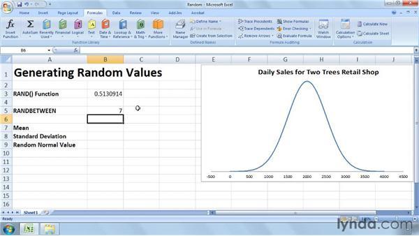 Generating random values: Excel 2007: Business Statistics