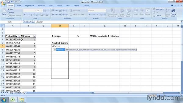 Calculating probabilities using the exponential distribution: Excel 2007: Business Statistics