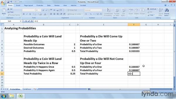 Calculating probabilities, permutations, and combinations: Excel 2007: Business Statistics