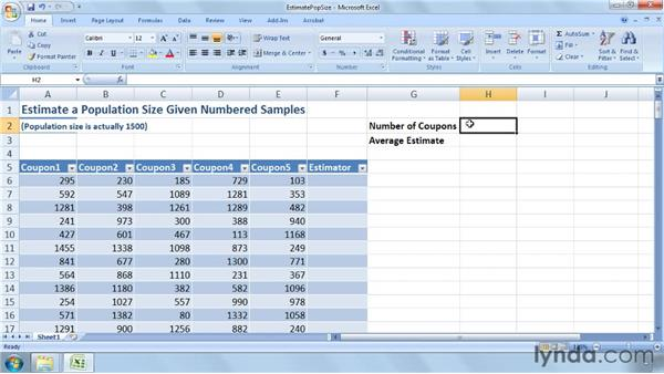 Estimating the size of a population given numbered samples: Excel 2007: Business Statistics