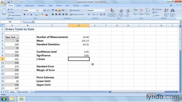 Calculating a confidence interval for a large sample: Excel 2007: Business Statistics