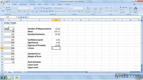 Calculating a confidence interval for a small sample using t-tests: Excel 2007: Business Statistics
