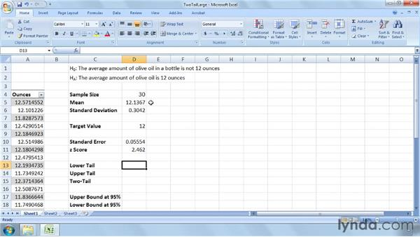 Performing two-tailed tests on a large sample's mean: Excel 2007: Business Statistics