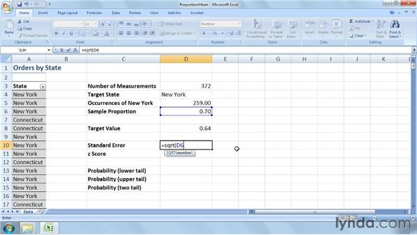 Testing the mean of a population proportion: Excel 2007: Business Statistics