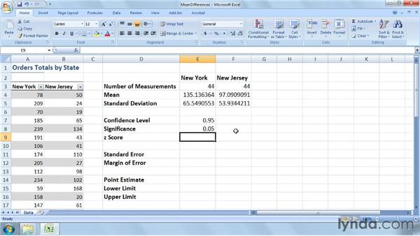 Estimating the difference between two populations' means: Excel 2007: Business Statistics