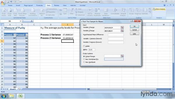 Testing hypotheses related to population means: Excel 2007: Business Statistics