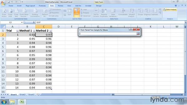 Inferring results from matched samples selected from two populations: Excel 2007: Business Statistics