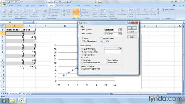 Analyzing and interpreting data from the Regression tool: Excel 2007: Business Statistics