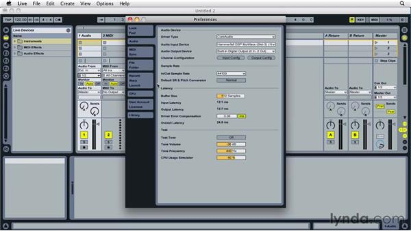 Setting up audio preferences: Ableton Live 8 Essential Training