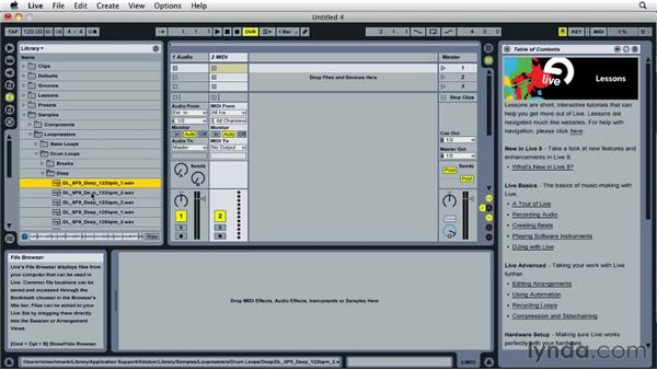 Working with Live browsers: Ableton Live 8 Essential Training