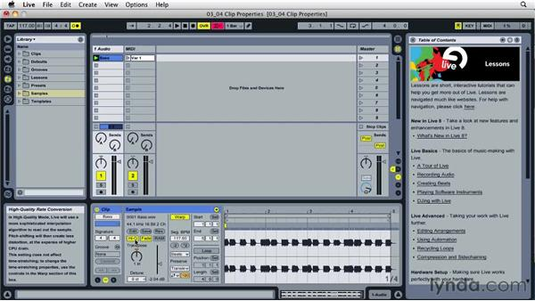 Understanding clip properties: Ableton Live 8 Essential Training