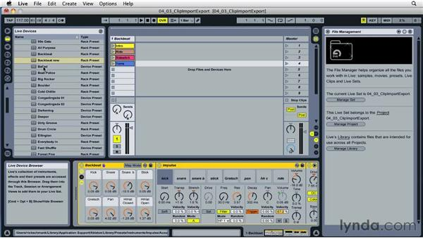 Exporting content from Live: Ableton Live 8 Essential Training