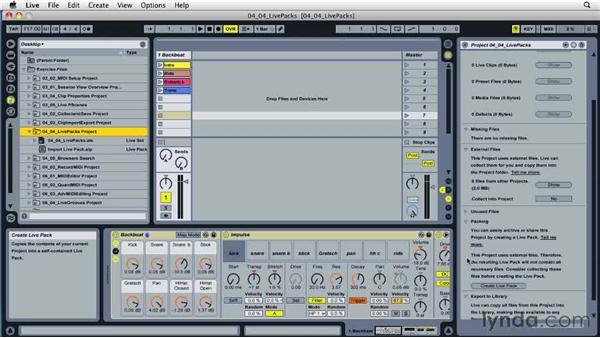 Importing and exporting Live Packs: Ableton Live 8 Essential Training