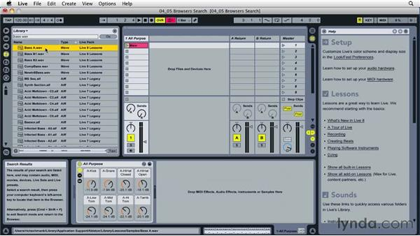 Searching for and auditioning clips: Ableton Live 8 Essential Training