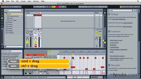 Quantizing MIDI data: Ableton Live 8 Essential Training