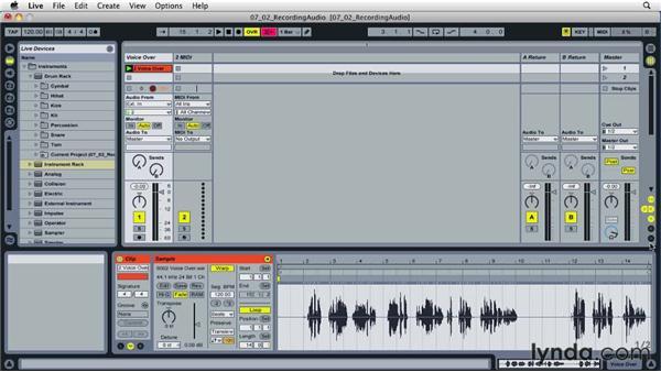 Recording audio: Ableton Live 8 Essential Training
