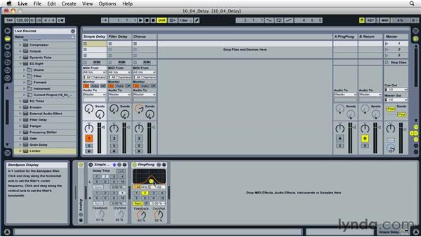Building interesting effects with delay effect processing: Ableton Live 8 Essential Training