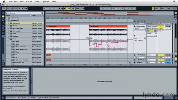 Editing existing automation information: Ableton Live 8 Essential Training