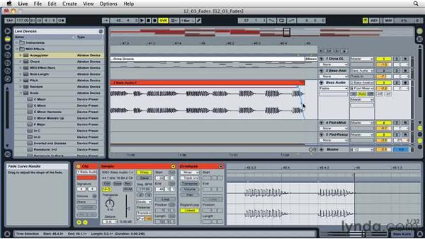 Using fades to mask audio pops and clicks: Ableton Live 8 Essential Training