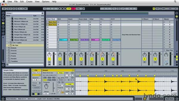 Using warp features to quantize audio: Ableton Live 8 Essential Training