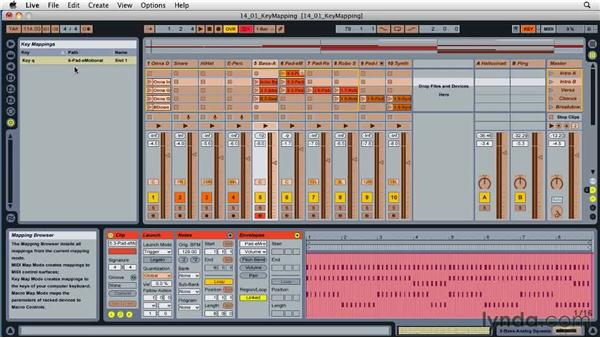 Using the computer keyboard to control Live: Ableton Live 8 Essential Training