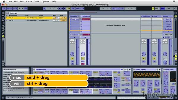 Mapping device controls to the MIDI keyboard: Ableton Live 8 Essential Training