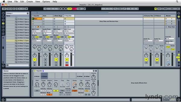 Building with the Impulse virtual instrument: Ableton Live 8 Essential Training