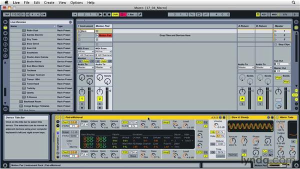 Assigning rack parameters to macros: Ableton Live 8 Essential Training