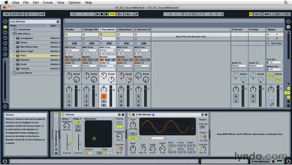 Using Live as a sound source: Ableton Live 8 Essential Training