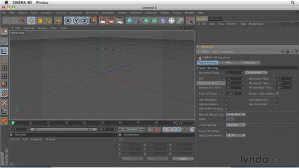 Configuring project settings: CINEMA 4D R12 Essential Training