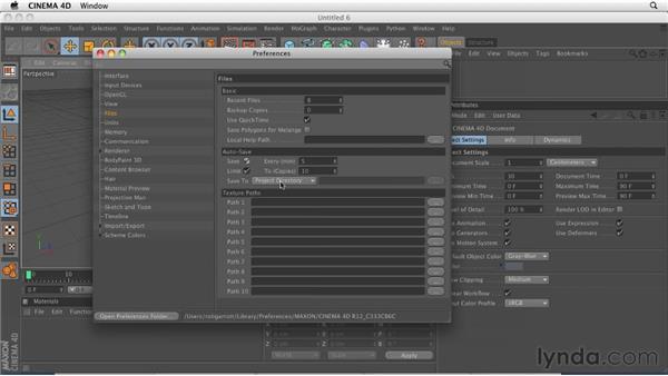 Setting application preferences: CINEMA 4D R12 Essential Training