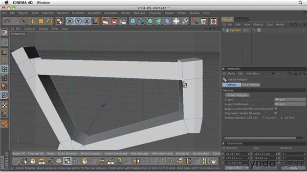 Closing and connecting geometry with the Create Polygon and Bridge tools: CINEMA 4D R12 Essential Training