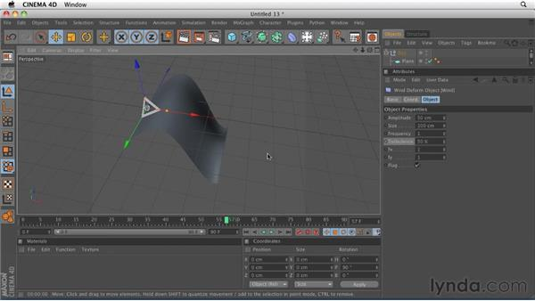 Deforming objects: The Wind Deformer: CINEMA 4D R12 Essential Training