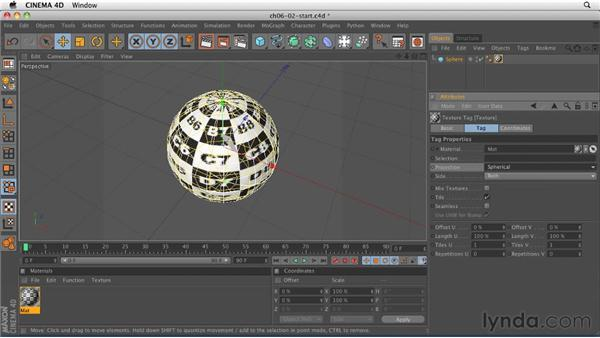 Applying materials: Projection methods: CINEMA 4D R12 Essential Training