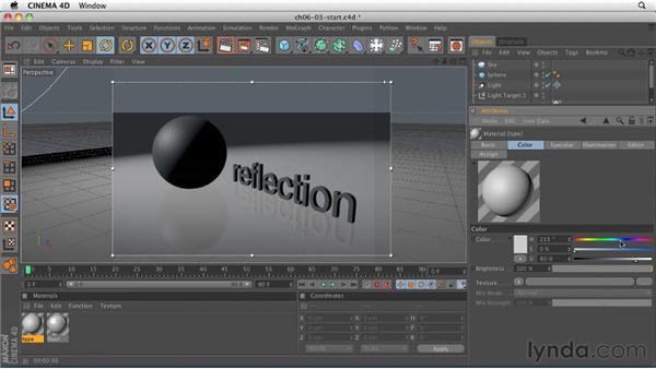 Creating materials: Reflective surfaces / shiny surfaces: CINEMA 4D R12 Essential Training