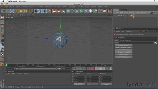 Using selection tags to apply materials to part of an object: CINEMA 4D R12 Essential Training
