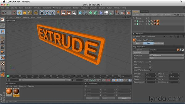 Texturing type using multiple materials: CINEMA 4D R12 Essential Training