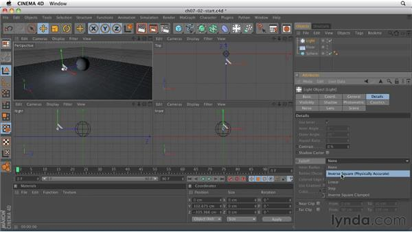 Adjusting falloff to limit how light affects objects: CINEMA 4D R12 Essential Training
