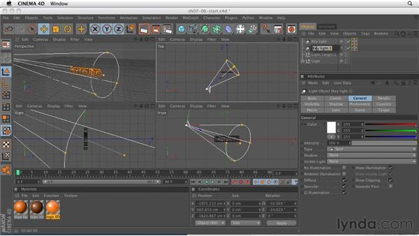 Creating a simple three-point light setup: CINEMA 4D R12 Essential Training