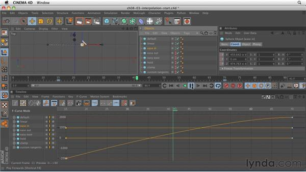Controlling what happens in between keyframes using the F-Curve Manager: CINEMA 4D R12 Essential Training