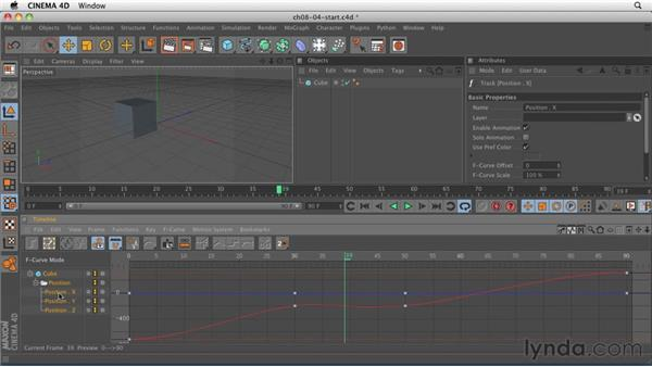 Copying keyframes to create an animated pause: CINEMA 4D R12 Essential Training