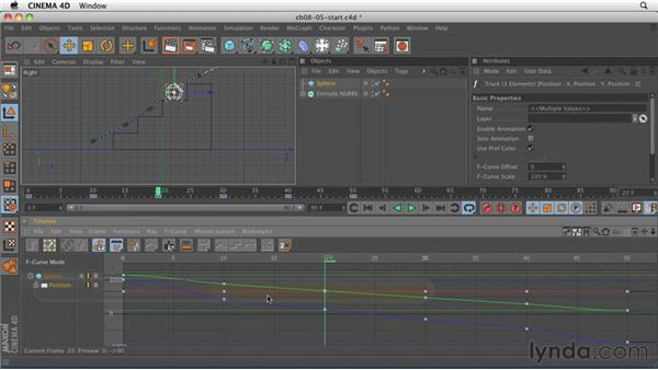 F-curve exercise: Bouncing a ball down stairs: CINEMA 4D R12 Essential Training