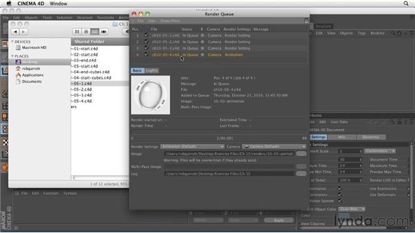 Batch-rendering multiple files: CINEMA 4D R12 Essential Training