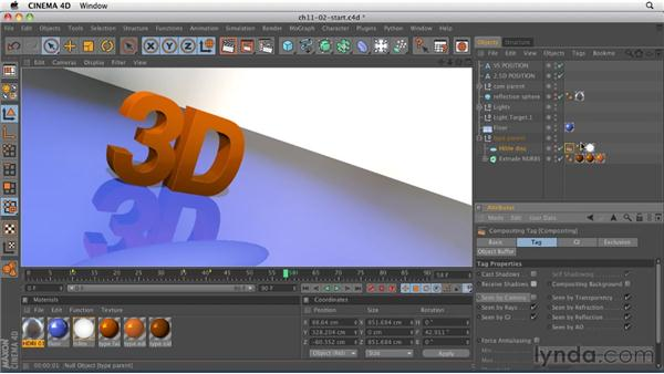 Using the Compositing tag: CINEMA 4D R12 Essential Training
